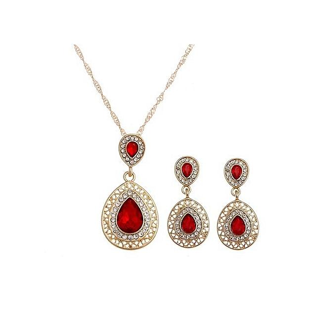 Blue Green Crystal Necklace Earrings Wedding Sets For Women  s Bohemian  Jewelry ... 44fdb80081e0