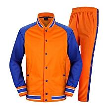 Men's Basketball Training Sports Jersey Apperance Clothing Coat Pants Uniform-Orange(1201)