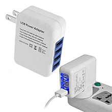 2.1A 4 Ports USB Portable Home Travel Wall Charger US Plug AC Power Adapter White