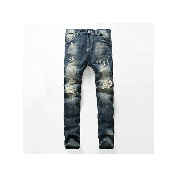 af7b3f0c621d8 Men s Ripped Jeans Pants Slim Fit Light Blue Denim Joggers Male Distressed  Destroyed Trouserss-dark