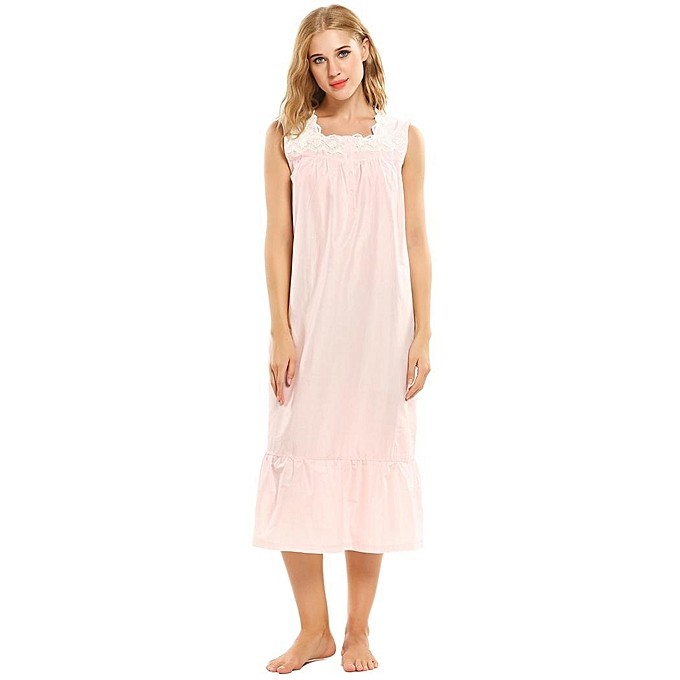 Buy Sunshine Floral Victorian Style Sleeveless Long Nightgown-Pink ...
