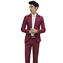 2f5734d302 Sanwood Men Slim Fit Business Leisure One Button Formal Two-Piece Suit For  Groom Wedding