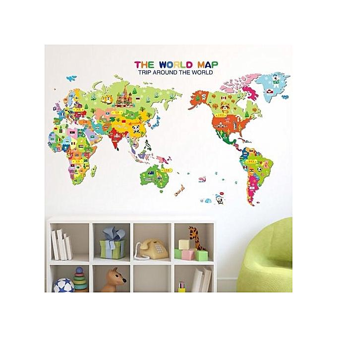 World Map Removable Wall Sticker.Generic Getek Animal World Map Removable Kids Room Wall Sticker