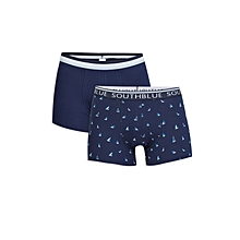 Navy Blue Printed Male Boxer Set