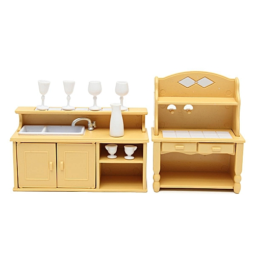 4pcs Cabinets Plastic Kitchen Miniature Dollhouse Furniture Dining Set Room Kids Toy