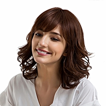Africanmall  store Ladies Human Hair Brown Wigs With Bangs Straight/Curly Middle Length  Wave Wigs -As shown