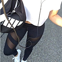 All-matchSport Leggings For Women Mesh Splice Fitness Slim Black Yoga Pants Plus Size Sportswear Clothes
