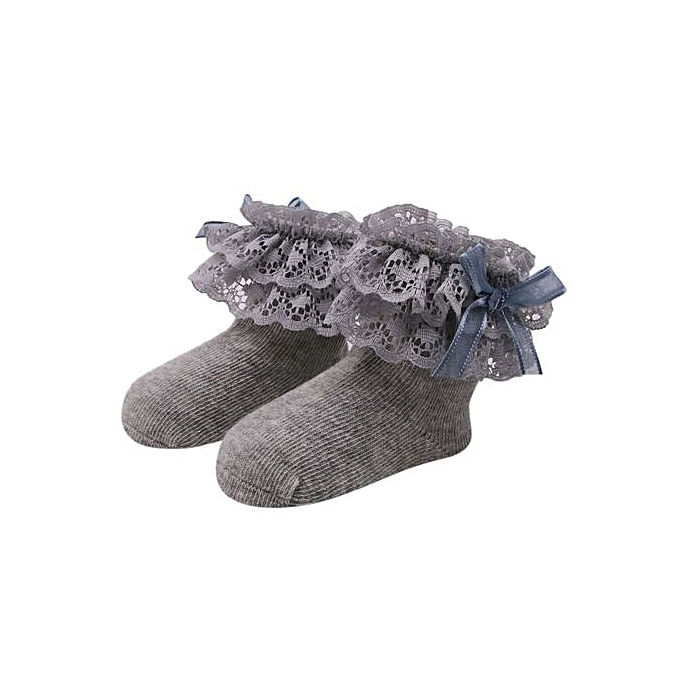 2d43a71ee8a82 Braveayong Baby Kids Girls Comfortable Lace Cute Cotton Sock Slippers Ankle  Socks -Gray