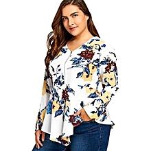 Plus Size Half Zipper Floral Asymmetric Long Sleeve Blouse-WHITE