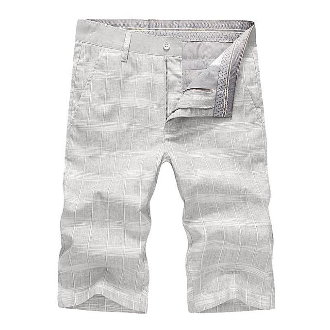 08b520e9dd Men's Breathable Solf Cotton Linen Plaid Mid-Waist Slim Casual Shorts Pants