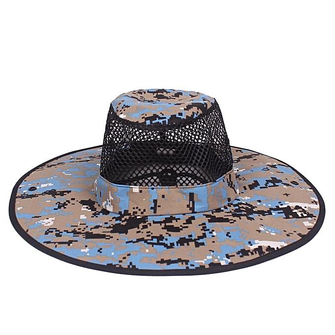 Men Summer Camouflage Cotton Visor Bucket Hats Folding Fisherman Hat  Outdoor Climbing Mesh Sun Cap 35778b052f4