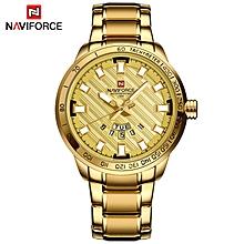 NAVIFORCE Luxury Brand Men Stainless Steel Gold Watch Men's Quartz Clock Man Sports Waterproof Wrist Watches relogio masculino