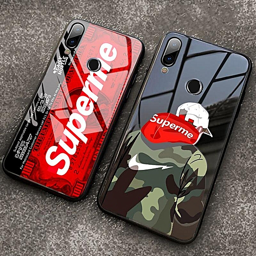 the best attitude 5484b e40d2 Xiaomi Redmi Note 7 Tempered Glass Case With Instagram Supreme SUP Design  Full Cover Shockproof Casing For Redmi 7 Note 7 Note 6 5 Pro (Redmi Note 5  ...