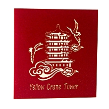 Greeting Card Three-dimensional 3D Paper-cut Yellow Crane Tower red