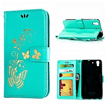 Mooncase Bronzing Butterfly PU Leather Case For Huawei Y6 Green
