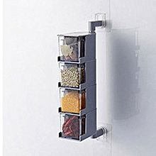Simple Design Clear Acrylic Rotatable Kitchen Spice Storage Container Rack gray