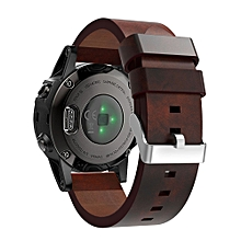 Luxury Leather Strap Replacement Watch Band With Tools For Garmin Fenix 5S-Brown