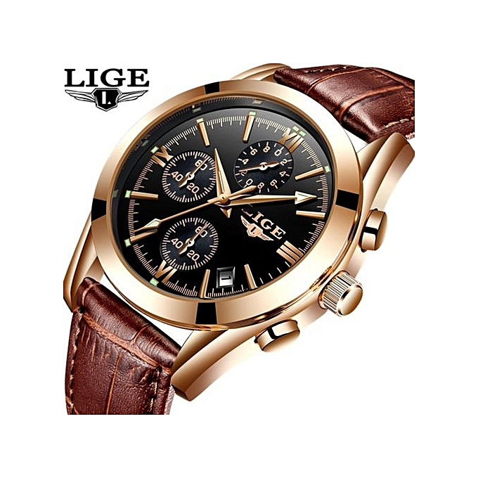 242e8197e New Watches Men Luxury Brand LIGE Chronograph Men Sports Watches Waterproof  Leather Quartz Man Watch Mens