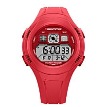 Red Students Wristwatch with Alarm Date Chronograph LED Back Light Waterproof Sports watch