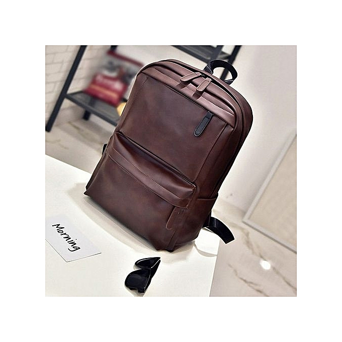 264e8f3654c3 Men s Women s Leather Backpack Laptop Satchel Travel School Rucksack Bag  Brown-Brown
