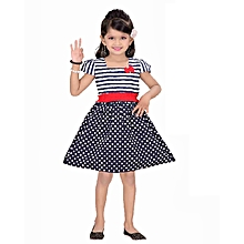 Navy blue polka dot short - sleeved cotton dress with stripped bodice