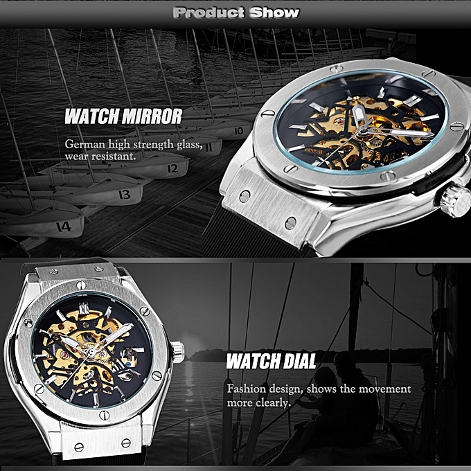 2619d925048 ... WINNER Men Military Watches 2018 Fashion Auto Mechanical Wristwatch  Rubber Strap Skeleton Stainless-steel Case