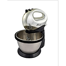 Electric Hand Mixer With Bowl- HE-655-D-HMB - Black and Silver