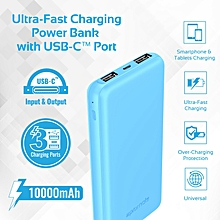VOLTAG-10C: Blue 10,000mAh  Power Bank & charges 2 devices simultaneously