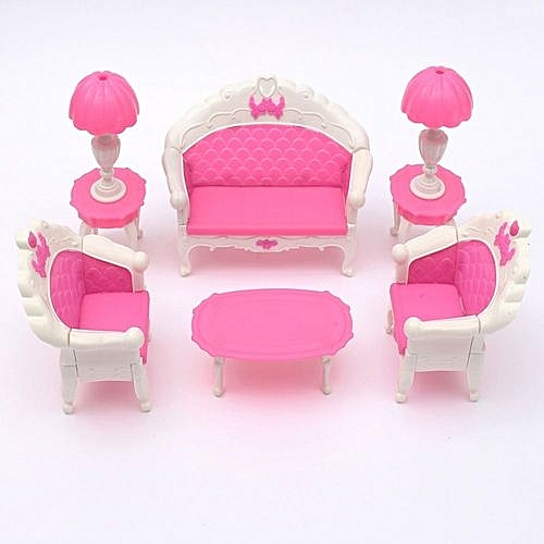 6PCS Pink Furniture Living Room Parlour Sofa Set For Dollhouse Barbie Accessories