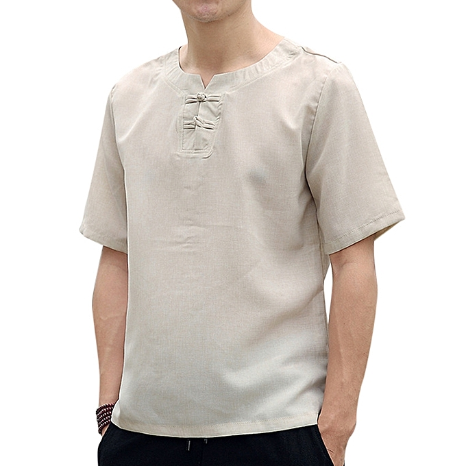 d3f48802e4c ... Tops Men s Chinese Style Cotton Linen T-Shirts Summer Short-sleeved  Breathable Loose Thin ...