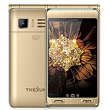 TKEXUN G10 Plus Flip Phone, Dual Screen, 3.5 inch, 7500mAh Battery, MTK6253,  Support TV, FM, MP3, SOS, GSM(Gold)
