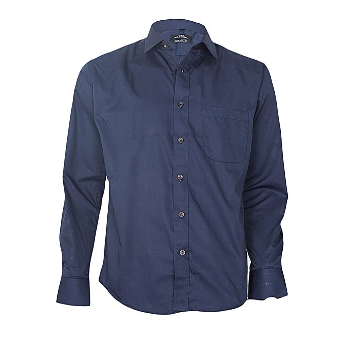 The arrow navy blue long sleeved formal shirt buy online for Navy blue shirt online