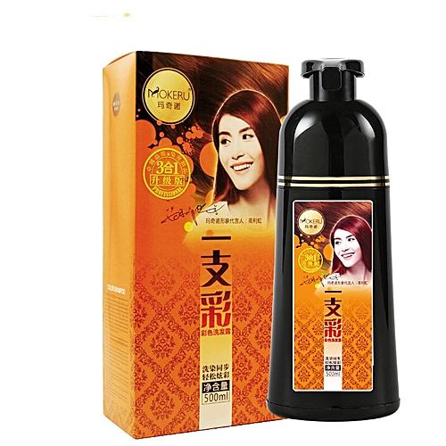 Mokeru 2pcs Soft Shiny No Side Effect Organic Fast hair colour permanent  hair dye brown color gray hair dye shampoo for women(wine red)