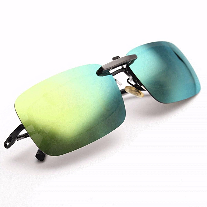 6866707756 Polarized Day Night Vision Clip-on Flip-up Lens Driving Glasses Sunglasses  HOT