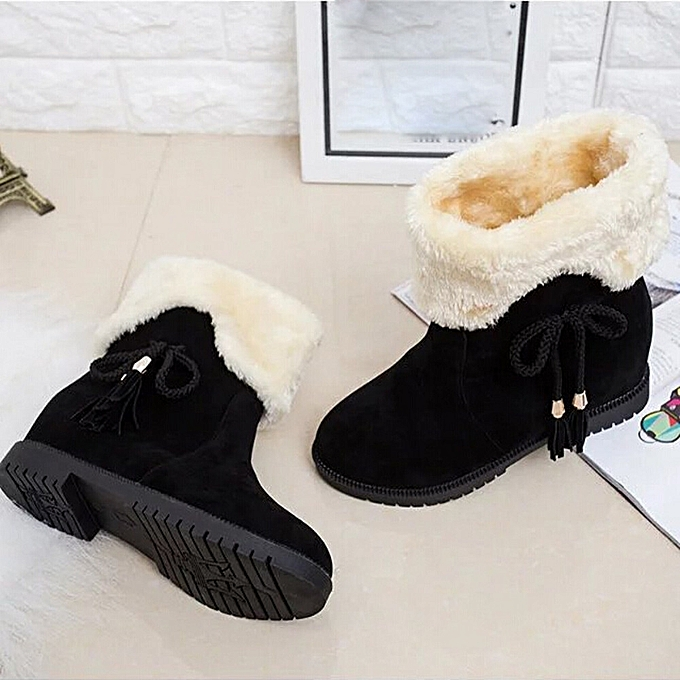 3858a7a99 Snow Boots Winter Ankle Boots Women Shoes Heels Winter Boots Fashion Shoes  BK/35-Black 35