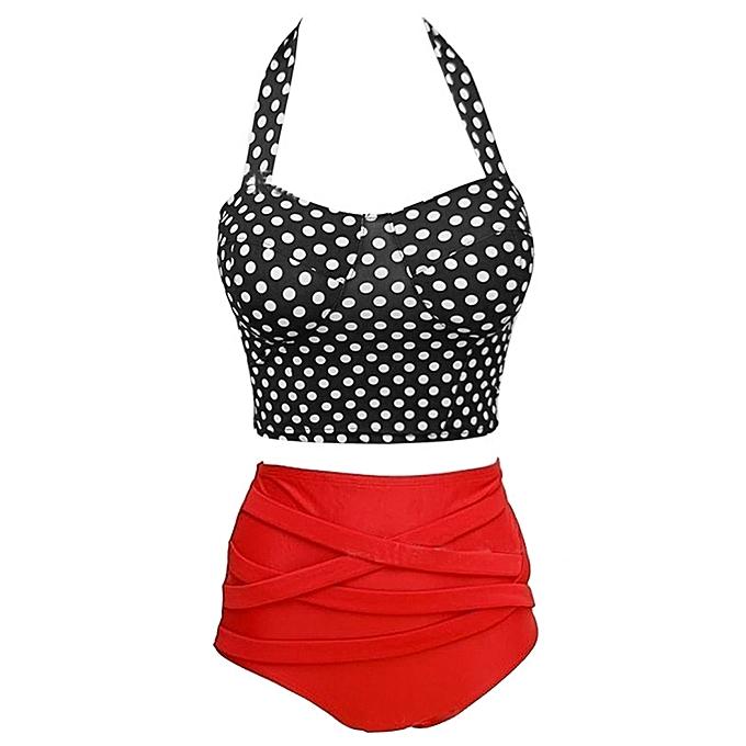 33117bf052 Women Black   White Dots Bikini Halter Swimwear High Waist Two Pieces  Swimsuit XL