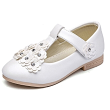 Baby Fashion flat doll shoes,baby Girls Floral Casual  PU Single Leather Pricness Shoes- White