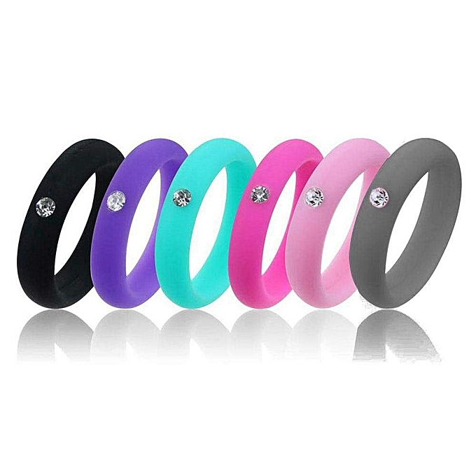 Best Silicone Wedding Ring.Silicone Wedding Ring For Women 6 Pack Silicone Wedding Band Rubber Wedding Ring Bands For Women Size 9 With Rhinestone