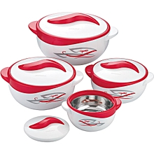 4 Piece Hot Pot  Food Server Insulated Casserole Gift Set - Red & White
