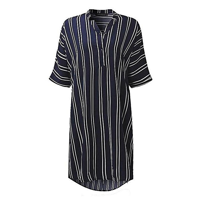 3fb8a4b2fd3d ZANZEA Mini Dress Fashion Women V Neck Short Sleeve Buttons Shirt Dresses  Striped Printed Casual Loose
