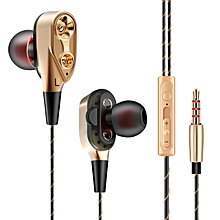 QKZ CK8 Wired Dual Moving Coil Heavy Bass Stereo In ear Earphone with Microphone Line Control