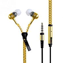 3.5mm In-ear Zipper Earphone Stereo Headset Handsfree Headphone With Mic Luxury Gold