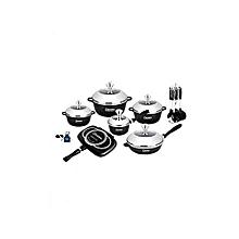 Durable Italian- 22 pieces Non-Stick DieCast Cooking Pots & Pans - Black .