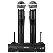 WEISRE PGX - 58 Professional UHF Dual Wireless Microphone Mic System For Karaoke Party KTV Etc.-BLACK