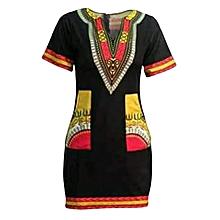 Black Short Fitting Dress With Kitenge