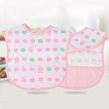 Waterproof Baby Kids Cartoon Pattern Boys Girls Infants Lunch Bibs Feeding Supplies #(Pink Apple)