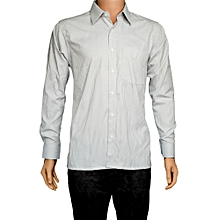 White and Light Grey Pinstripe Casual Shirt
