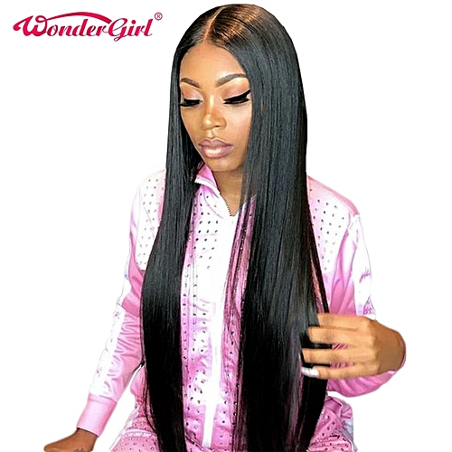 2d75c79da30 Wonder girl Glueless Lace Front Human Hair Wigs For Women Black Pre Plucked  Brazilian Straight Lace Wig With Baby Hair Non Remy