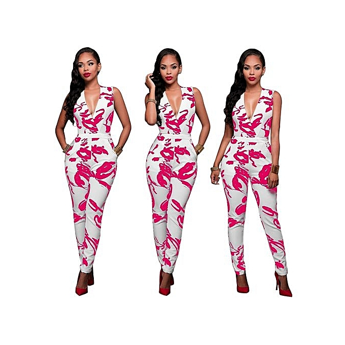 5454c909a4e Hot Sale Sexy Womens Sleeveless Bandage Bodycon Jumpsuit Romper Trousers  Evening Clubwear-Rose