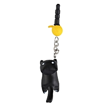 Newest Cat Playing Ball 3.5mm Anti Dust Earphone Jack Plug Stopper For Phone Black